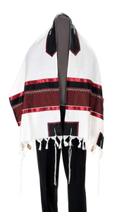 Red Wine Tallit, Bar Mitzvah Tallit - Galilee Silks
