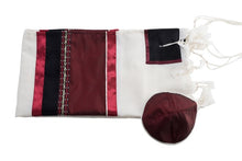 Load image into Gallery viewer, Red Wine Tallit, Bar Mitzvah Tallit set flat, wool tallit from Israel, custom tallit by Galilee Silks
