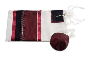 Red Wine Tallit, Bar Mitzvah Tallit set flat, wool tallit from Israel, custom tallit by Galilee Silks
