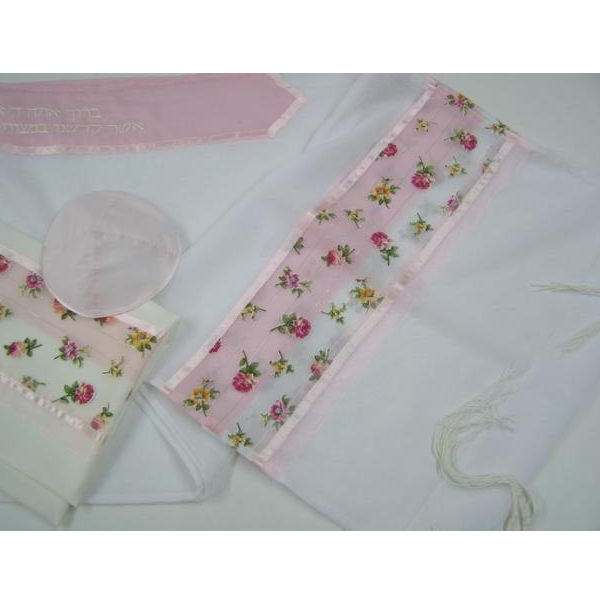 Pink Floral Tallit for girl