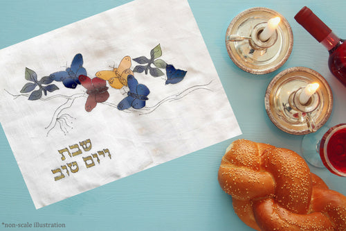 Butterflies Celebration Hand Painted Challah Cover