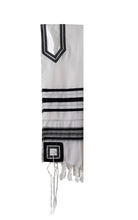 Load image into Gallery viewer, Classic Black and Silver Decorated Wool Tallit for Men, Bar Mitzvah Tallit ,Hebrew Prayer Shawl Tzitzit, Wedding Tallit, Tallis hung 1