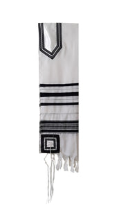 Classic Black and Silver Decorated Wool Tallit for Men, Bar Mitzvah Tallit ,Hebrew Prayer Shawl Tzitzit, Wedding Tallit, Tallis hung 1