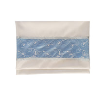 Load image into Gallery viewer, Opaque Baby Blue and Silver Floral Tallit for women, Bat Mitzvah Tallit bag, Tallit for Girl