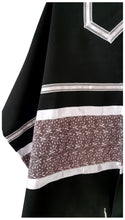 Load image into Gallery viewer, Royal Lilac Leaves pattern Black Tallit for Women, Bat Mitzvah Tallit