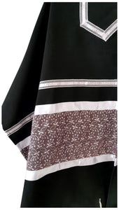 Royal Lilac Leaves pattern Black Tallit for Women, Bat Mitzvah Tallit
