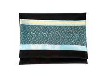 Load image into Gallery viewer, Vibrant Turquoise Leaves Black Tallit for Women, Bat Mitzvah Tallit bag