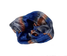 Load image into Gallery viewer, Smoked Blues and Orange Hand Painted Silk Scarf