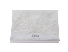 Load image into Gallery viewer, White Tallit with White Lace Decoration Women's Tallit, Feminine Tallit, woman wedding tallit name on bag