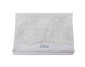 White Tallit with White Lace Decoration Women's Tallit, Feminine Tallit, woman wedding tallit name on bag