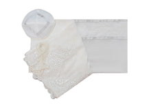 Load image into Gallery viewer, White Tallit with White Lace Decoration Women's Tallit, Feminine Tallit, woman wedding tallit set