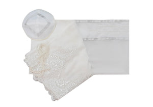 White Tallit with White Lace Decoration Women's Tallit, Feminine Tallit, woman wedding tallit set