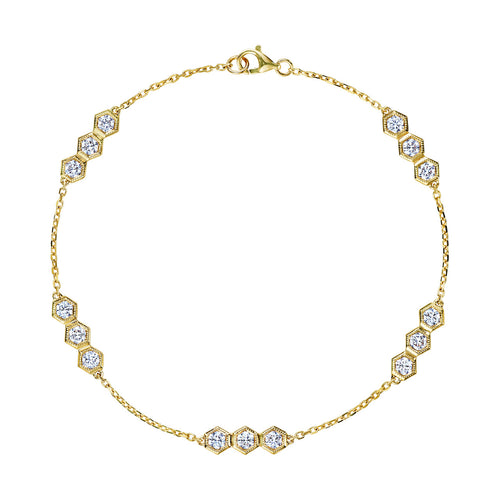 Yellow Gold Hexagon Diamond Bracelet