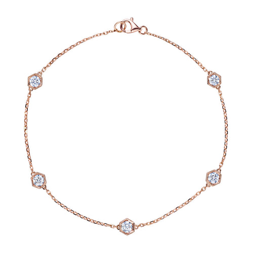 Rose Gold Hexagon Diamonds by the Yard Bracelet