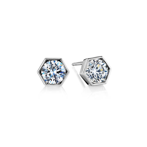 White Gold Hexagon Diamond Stud Earrings