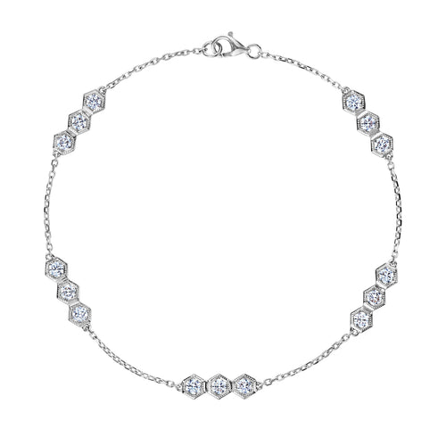 White Gold Hexagon Diamond Bracelet