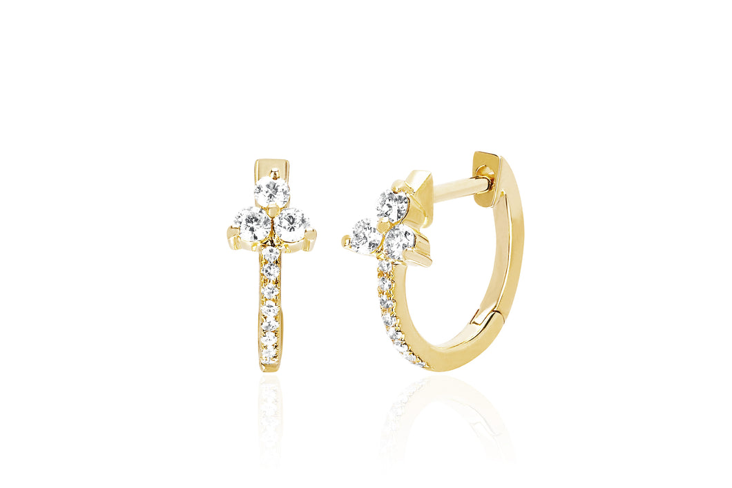 Diamond Trio Huggie Earring