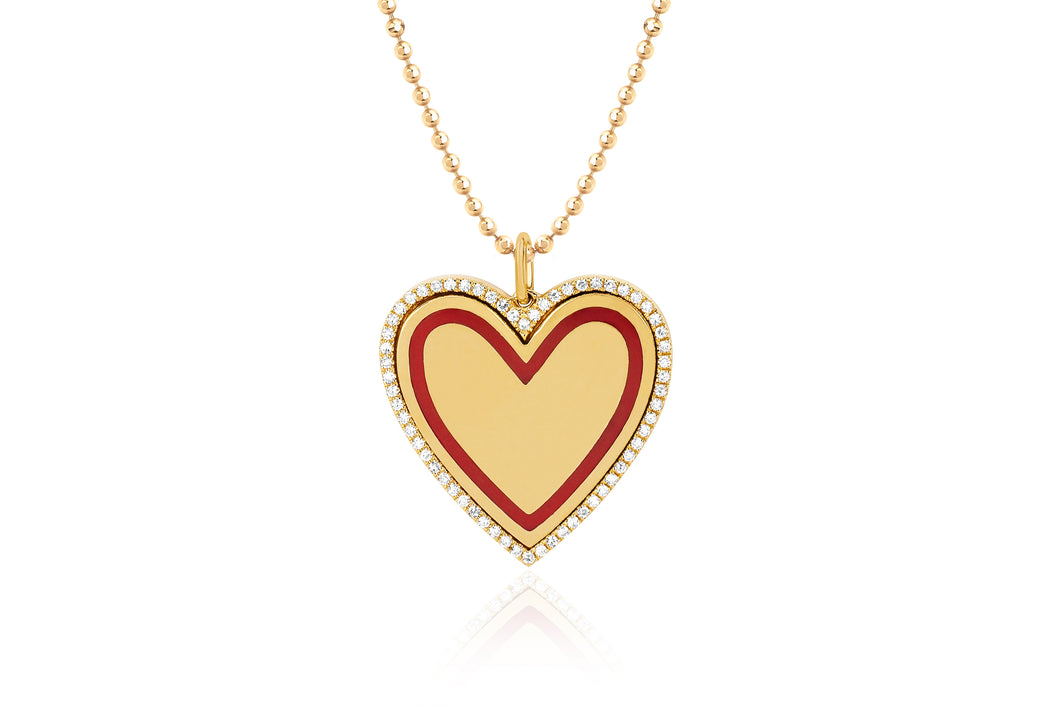 Diamond & Red Enamel Heart Necklace