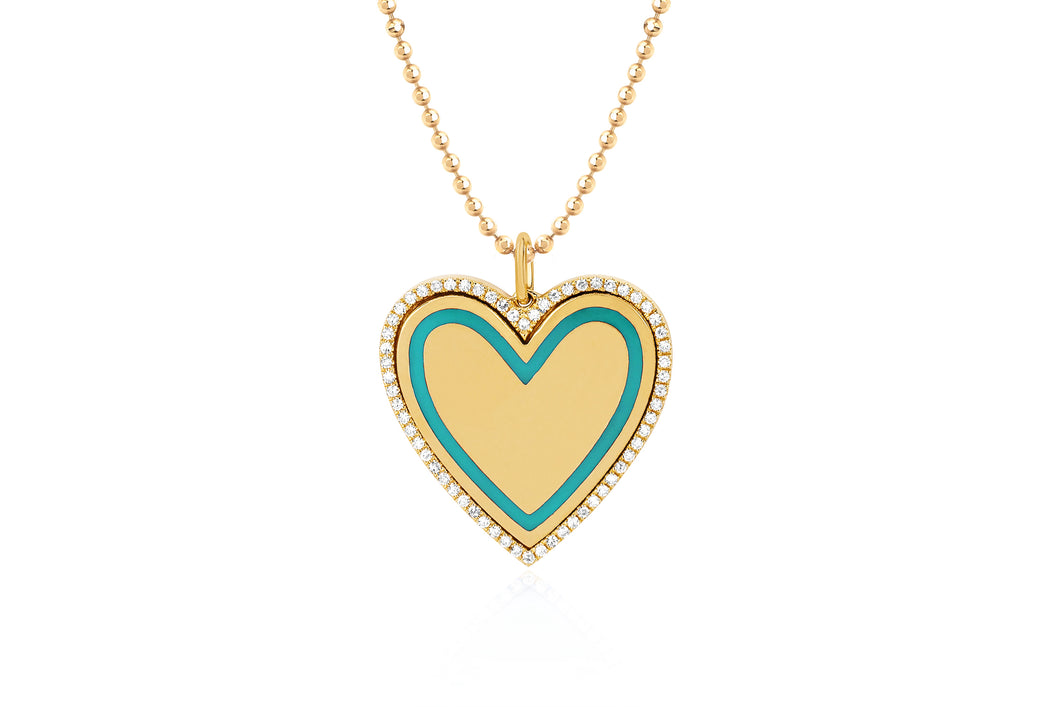 Diamond & Turquoise Enamel Heart Necklace