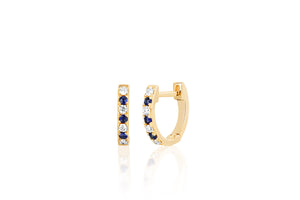 Mini Diamond & Blue Sapphire Dot Huggie Earrings