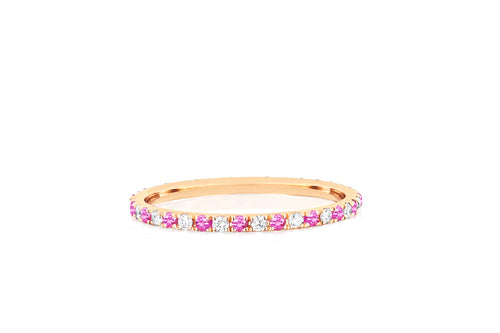 Diamond & Pink Sapphire Dot Eternity Band Ring