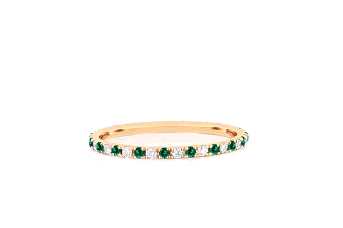Diamond & Tsavorite Dot Eternity Band Ring