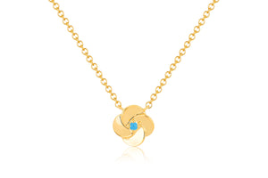Gold and Turquoise Petal Necklace