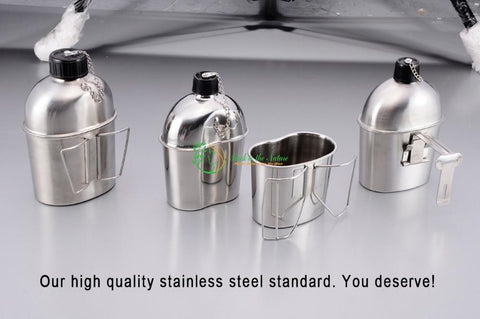 Stainless Steel Military Canteen 1L Portable with 0.5 L Green Cover Camping Cup | Back To The Nature