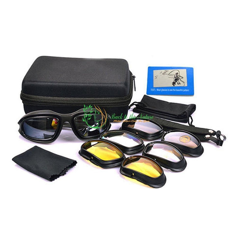 Polarized Motorcycle Glasses with Padded Frame and 4 pairs Lenses | Back To The Nature