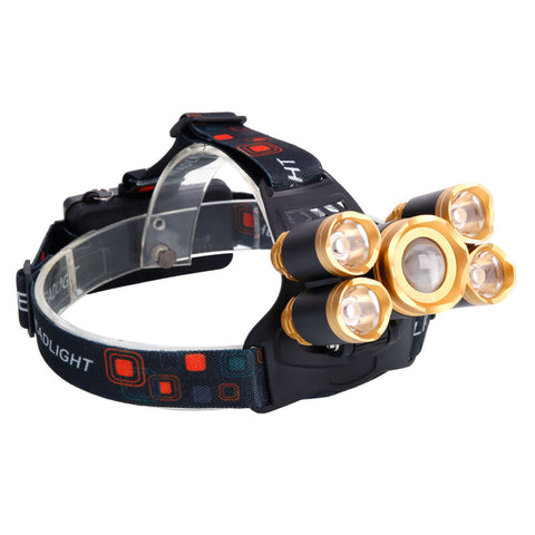 80000LM Headlamp Rechargeable 5xT6 LED Headlight