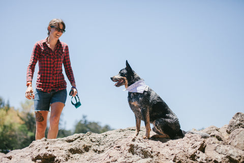 Woman hiking with dog wearing bandana collar