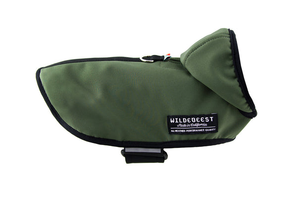 Wildebeest All Weather Dog Jacket Olive Side View