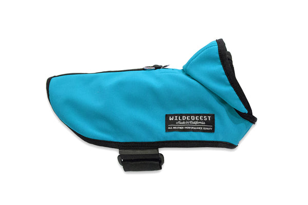 Wildebeest All Weather Dog Jacket in Turquoise Side View