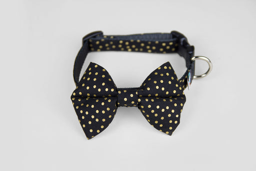 Bow Tie Dog Collar / Black 'n Gold - Wildebeest