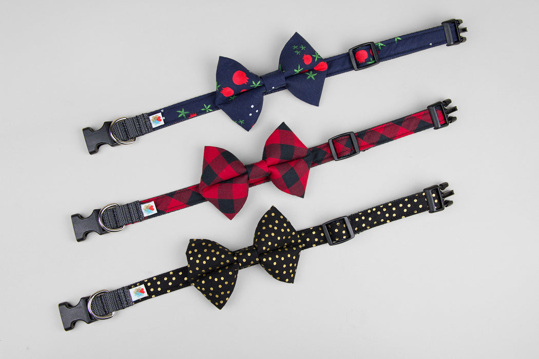 Bow Tie Dog Collar / Navy Holly - Wildebeest