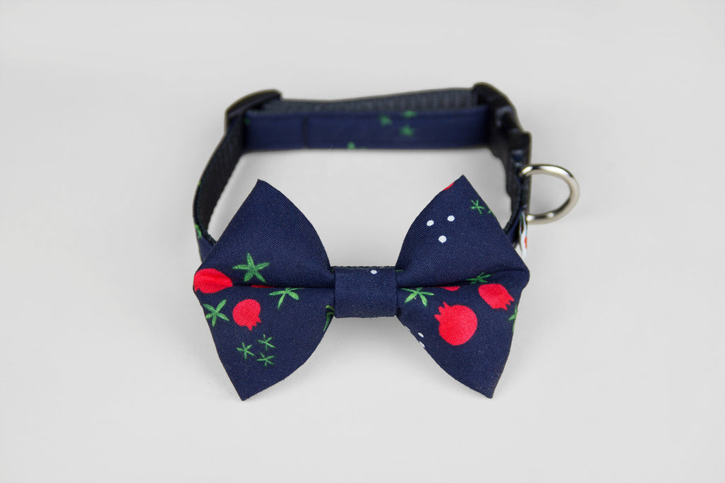 Wildebeest Bow Tie Collar in Berry Holly, Front View
