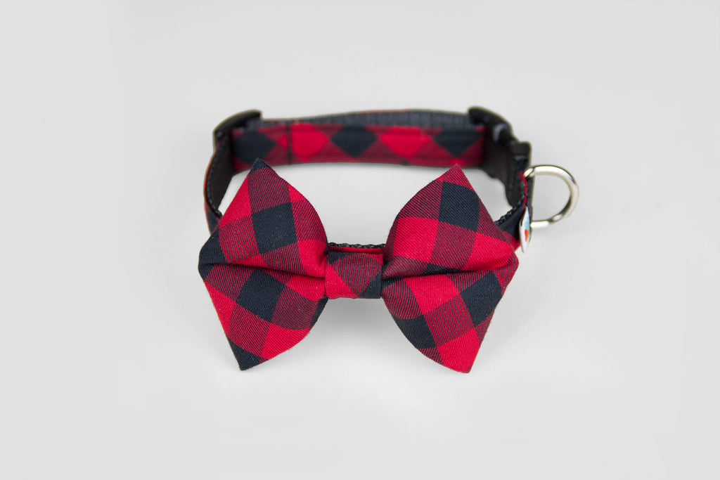 Wildebeest Bow Tie Collar in Red Buffalo Plaid, Front View
