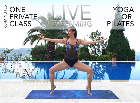 1 PRIVATE LIVE YOGA or PILATES CLASS