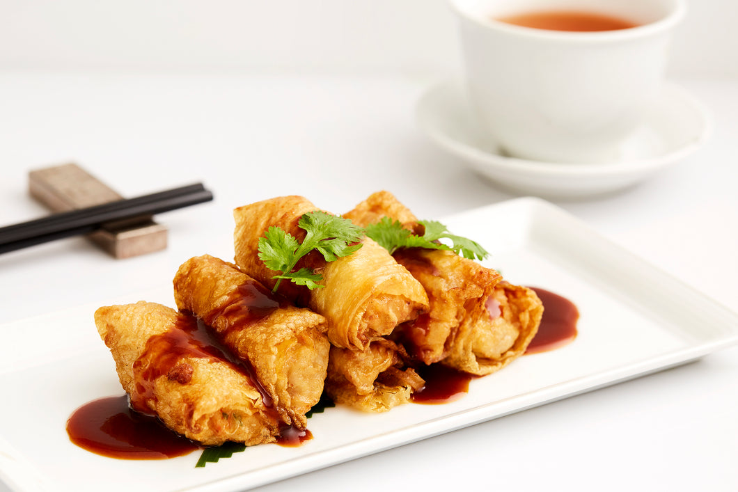 Steamed bean curd skin rolls with minced prawns & chicken in Chinese barbecue sauce