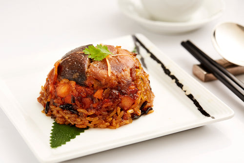 Steamed glutinous rice with wild rice, chicken & Chinese mushroom