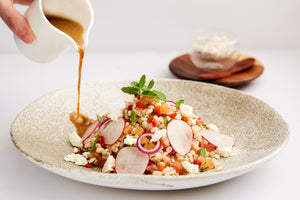 Wheat Salad with Feta Cheese & Ginger Sauce (V)