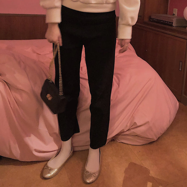 wool waist rubber pants
