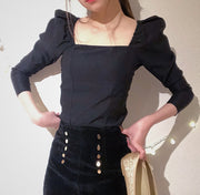 puff sleeves bustier blouse