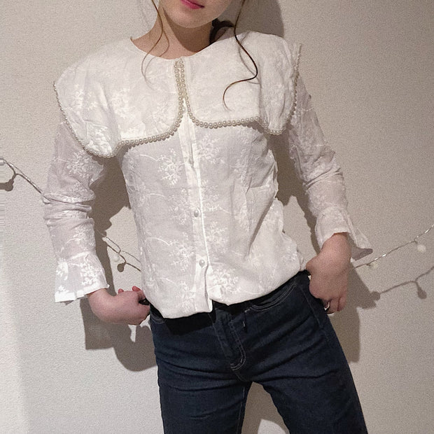 pearly flower lace blouse