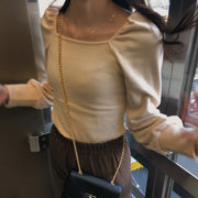 puff sleeves tight tops・全2色