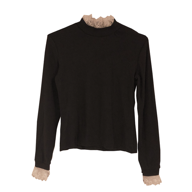 lace neck black long t-shirts