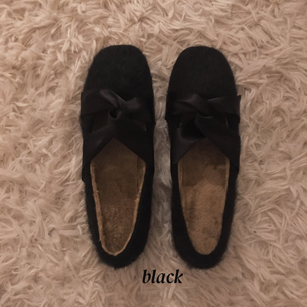 fur ribbon round shoes・3colors