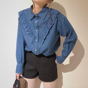 pearly denim fril blouse