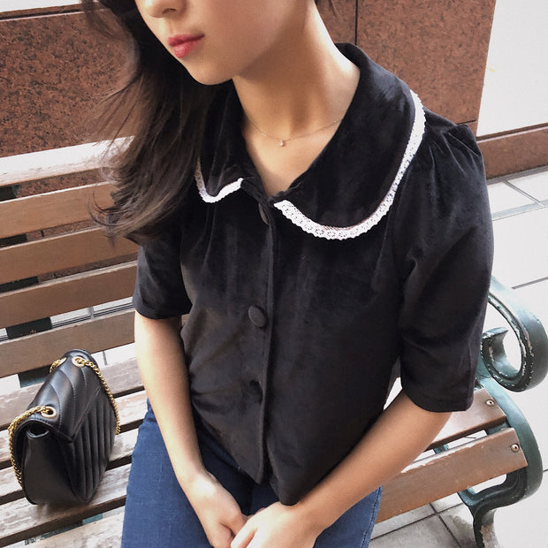 velvet half sleeves tops・全1色