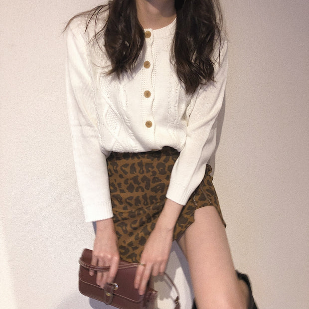 leopard zipper mini skirt